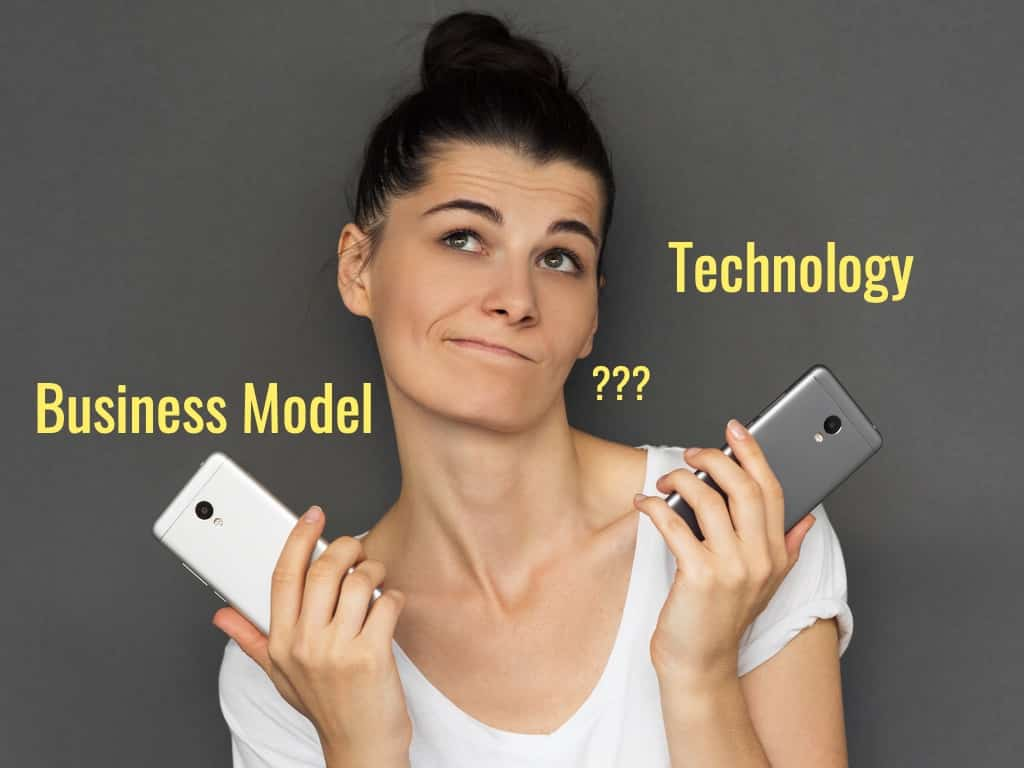 A woman debating what is more important, business model or technology