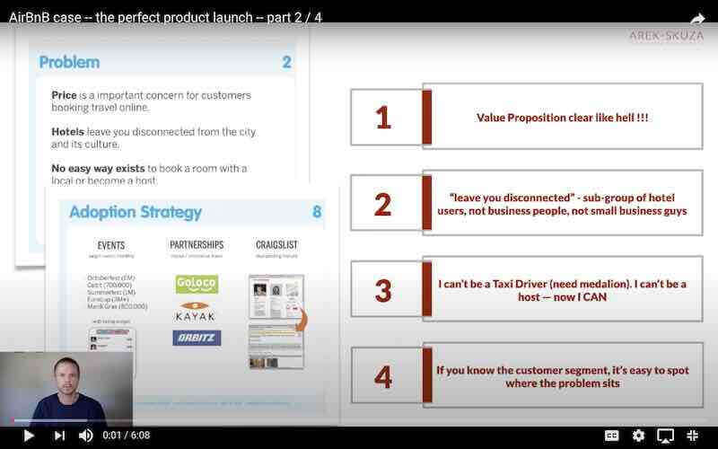 AirBnB Perfect Product Launch explained by Arek Skuza in the video