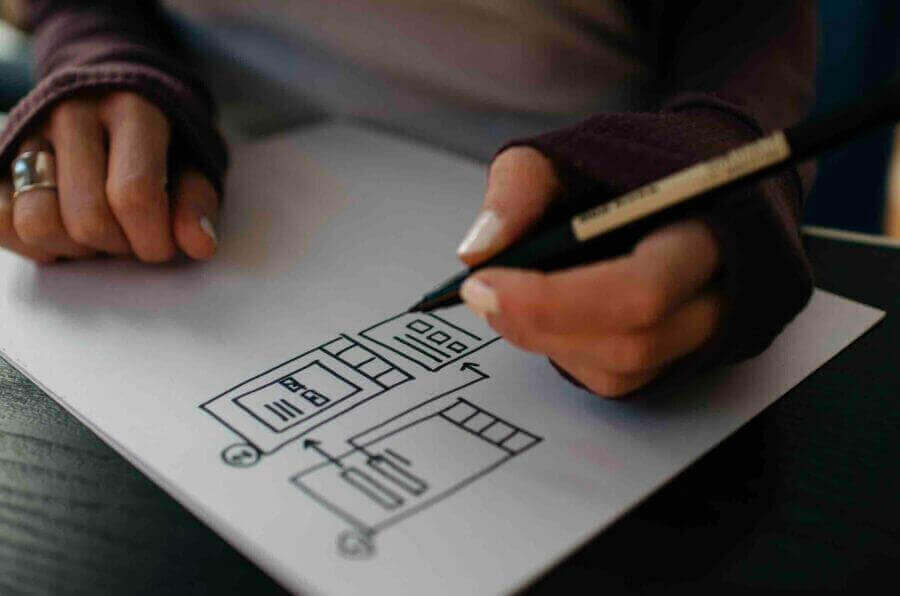UX designer is working on the user experience process
