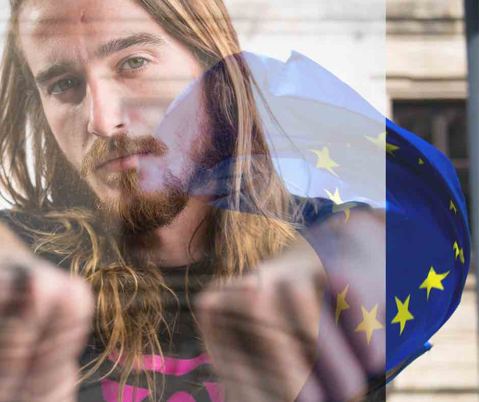 European Union flag and a person